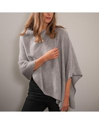 Black.co.uk - Light Grey And Ivory Knitted Cashmere Poncho - Lyst