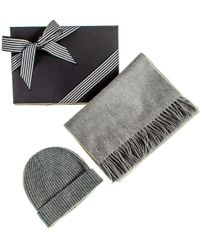 Black.co.uk - Grey Cashmere Scarf And Beanie Gift Set - Lyst
