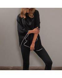 Black.co.uk - Black And Grey Bordered Cashmere Poncho - Lyst