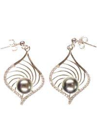 Black.co.uk - Indira Tahitian Black Pearl And Sterling Silver Earrings - Lyst