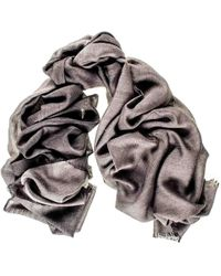 Black.co.uk - Steel Grey And Charcoal Cashmere And Silk Wrap - Lyst