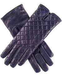 Black.co.uk - Navy Quilted Leather Gloves - Cashmere Lined - Lyst