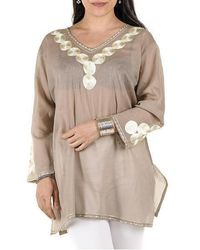 Black.co.uk - Sand And Gold Embroidered Cotton Kaftan Top - Lyst