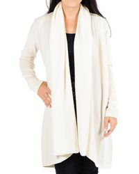 Black.co.uk - Cream Longline Cashmere Cardigan - Lyst