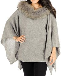 Black.co.uk - Grey Cashmere Bat Wing Poncho With Fur Collar - Lyst