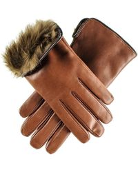 Black.co.uk - Ladies Brown Rabbit Fur Lined Leather Gloves - Lyst