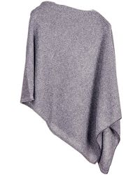 Black.co.uk - Navy And Grey Knitted Cashmere Poncho - Lyst