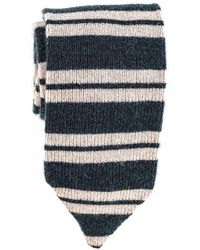 Black.co.uk - Green And Oatmeal Striped Cashmere Tie - Lyst