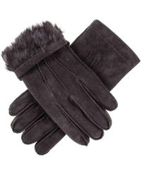 Black.co.uk - Hand Stitched Black Suede Gloves With Rabbit Fur Lining - Lyst