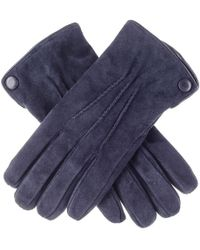 Black.co.uk - Navy Blue Suede Gloves With Cashmere Lining - Lyst
