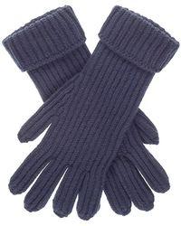 Black.co.uk - Men's Navy Rib Knit Cashmere Gloves - Lyst