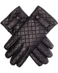 Black.co.uk - Black Leather Quilted Gloves With Strap - Lyst