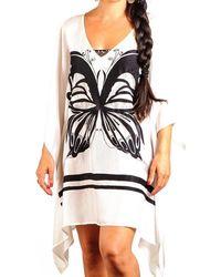 Black.co.uk | Black And White Butterfly Silk Kaftan | Lyst