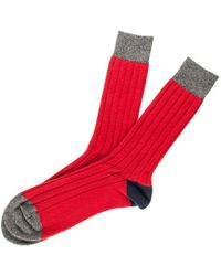 Black.co.uk - Men's Red, Navy And Grey Cashmere Socks - Lyst