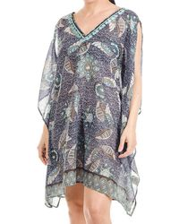 Black.co.uk - Slit Sleeve Printed Cotton Kaftan Top - Lyst