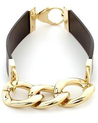 Black.co.uk - Rose Gold And Black Leather Necklace - Lyst