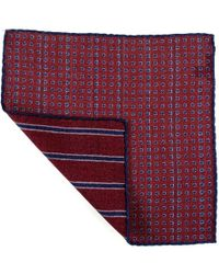 Black.co.uk - Burgundy And Blue Reversible Wool Pocket Square - Lyst