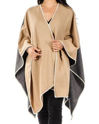 Black.co.uk - Camel And Charcoal Grey Baby Alpaca Cape - Lyst