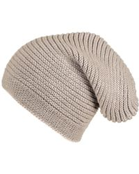 Black.co.uk - Light Taupe Cashmere Slouch Beanie Hat - Lyst