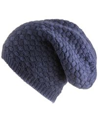 Black.co.uk - Navy Basketweave Cashmere Slouch Beanie - Lyst
