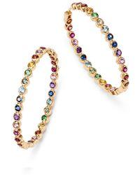 Shebee - 14k Yellow Gold Multicolour Sapphire Inside-out Oval Hoop Earrings - Lyst