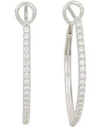 Frederic Sage - 18k White Gold Marquise Pavé Diamond Hoop Earrings - Lyst