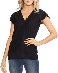 Vince Camuto - Mixed-media Henley Top - Lyst
