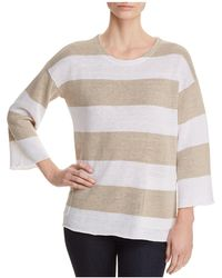 Eileen Fisher - Organic Linen Awning-stripe Sweater - Lyst