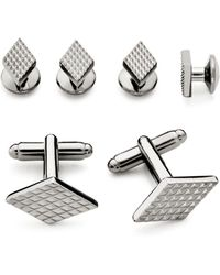 Bloomingdale's - Textured Diamond Stud And Cufflink Set - Lyst