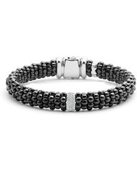 Lagos - Black Caviar Ceramic Bracelet With Sterling Silver And 1 Diamond Bar - Lyst