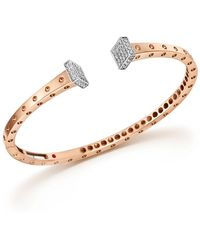 Roberto Coin - 18k White And Rose Gold Pois Moi Chiodo Bangle With Diamonds - Lyst
