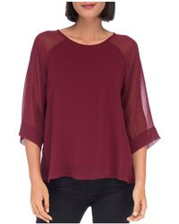 B Collection By Bobeau | Birdie Mixed Media Top | Lyst