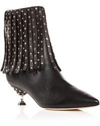 Brian Atwood - Women's Cameron Studded Kitten-heel Booties - Lyst