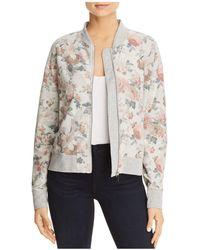 Three Dots - Floral Print Knit Bomber Jacket - Lyst