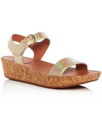 Fitflop - Women's Bon Ii Leather & Cork Platform Sandals - Lyst