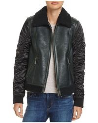 Andrew Marc - Tally Shearling Trim Mixed Media Jacket - Lyst