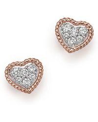 Bloomingdale's - Diamond Pavé Heart Stud Earrings In 14k Rose Gold, .20 Ct. T.w. - Lyst
