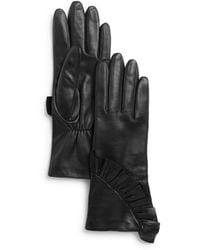 Aqua - Ruffled Leather Tech Gloves - Lyst
