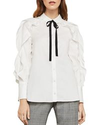 BCBGMAXAZRIA - Ruffled Tie Detail Shirt - Lyst