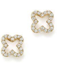 Bloomingdale's - Diamond Clover Stud Earrings In 14k Yellow Gold, .20 Ct. T.w. - Lyst