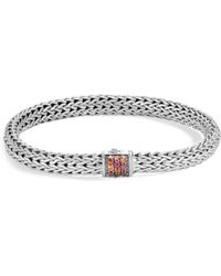 John Hardy - Sterling Silver Classic Chain Lava Small Bracelet With Garnet - Lyst