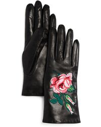 Bloomingdale's - Embroidered Leather Gloves - Lyst