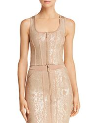 Guess - Snake-foiled Sleeveless Crop Top - Lyst