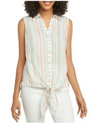 Foxcroft - Cabana-stripe Tie-waist Sleeveless Shirt - Lyst
