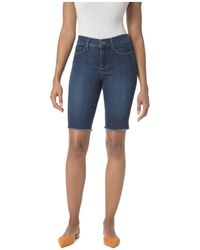 NYDJ - Briella Frayed Denim Bermuda Shorts In Cooper - Lyst