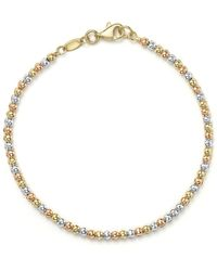 Bloomingdale's - 14k Yellow, White And Rose Gold Beaded Bracelet - Lyst