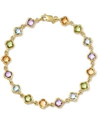 Bloomingdale's - Multi Gemstone Clover Bracelet In 14k Yellow Gold - Lyst