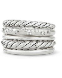 David Yurman - Pure Form Wide Ring With Diamonds - Lyst