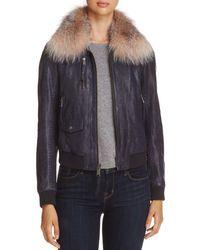 Andrew Marc - Naples Fur Trim Leather Bomber Jacket - Lyst