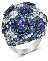 Roberto Coin - 18k White Gold Fantasia Blue Sapphire & Lolite Cocktail Ring With Diamond - Lyst